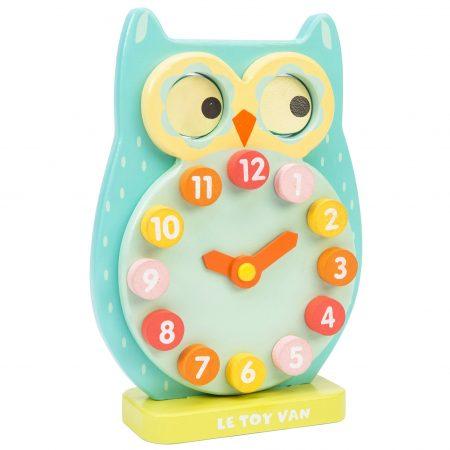 jucarie copii, jucarii educative, jucarie lemn, bufnita, ceas pentru copii