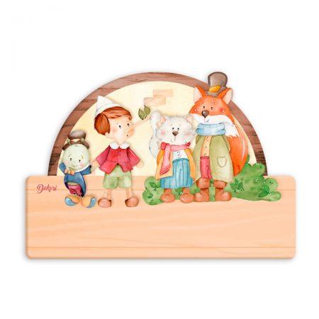 placuta personalizata nume, placuta nume, placuta personalizata, familia Pinocchio, Pinocchio