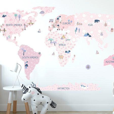 sticker perete, sticker harta, sticker primavara, sticker roz
