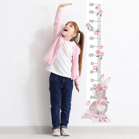 sticker perete, sticker masurator inaltime, sticker iepure, sticker roz