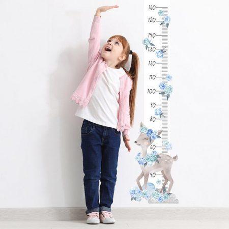 sticker perete, sticker masurator inaltime, sticker caprioara, sticker albastru