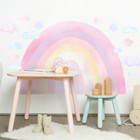 sticker perete, sticker curcubeu, sticker curcubeu roz, sticker roz