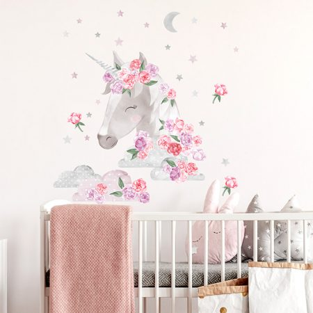 sticker perete, sticker unicorn, sticker roz, sticker unicorn roz